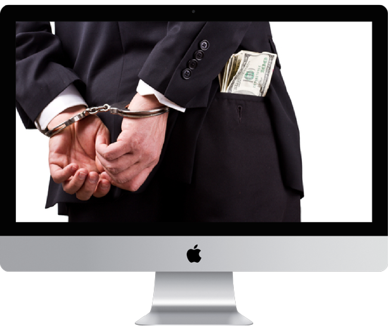 imac with person in hand cuffs and money in pocket